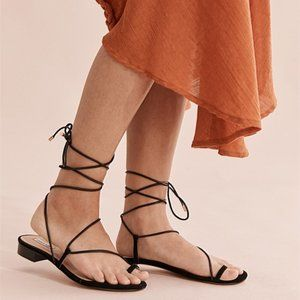 Country Road Black Leather Valerie Sandals 39